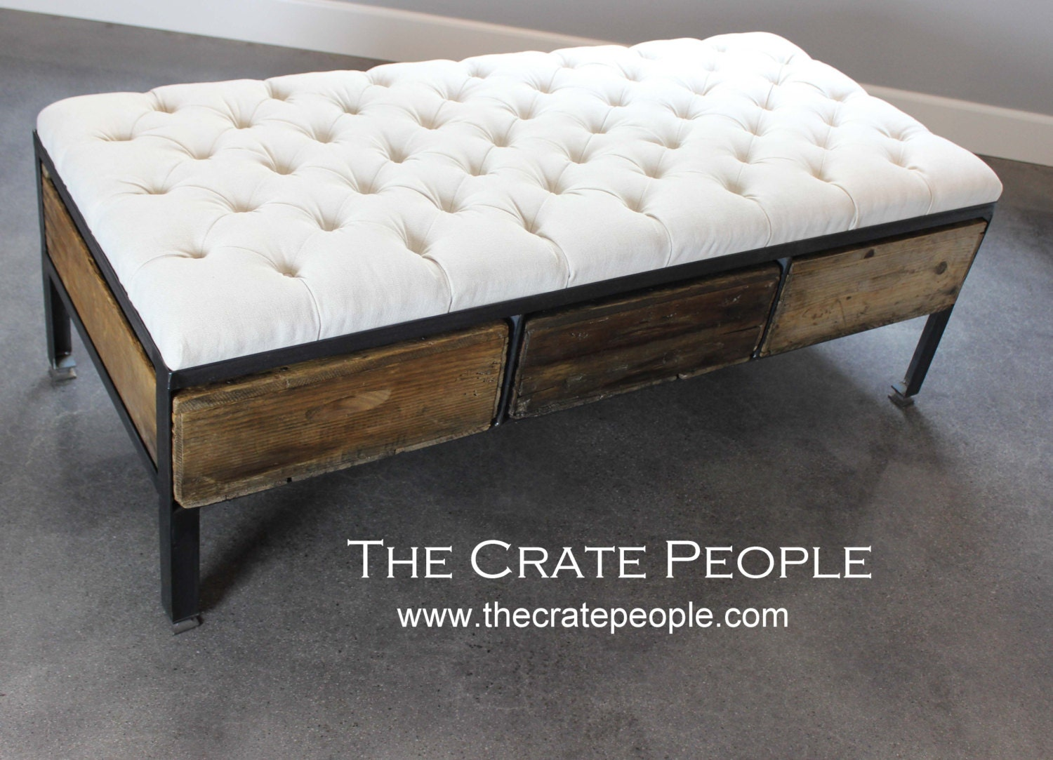 Reclaimed Tufted Ottoman Or 3 Crate Drawer Coffee Table