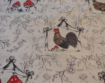 1 Yard of French Hen Good Day Toil  Blend Fabrics White
