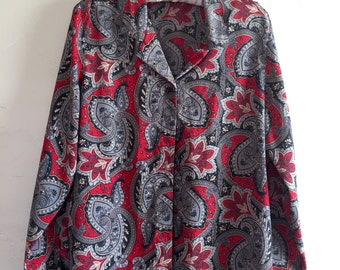 Vintage Paisley Print Blouse Gray and Red