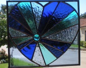 Stained Glass Sunburst Heart in Blue