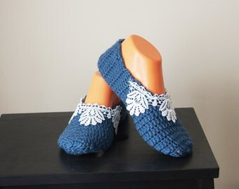 Navy Blue with lace Healthy Booties Home slippers Dance classic yoga sexy hygienic light Naturel yoga,socks,