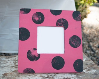 Pink and Black Polka Dotted Frame