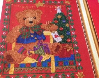 L - CHRISTMAS TEDDY - cross stitch pattern only
