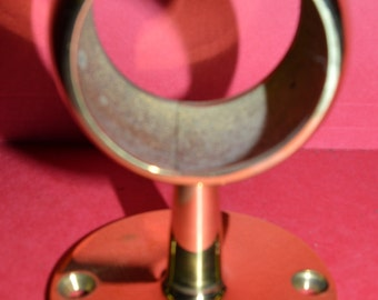 Polished Brass Curtain Rod Bracket, Holder, 1 1/2 inch Ball Center Post, for 1 1/2 inch rods or dowels