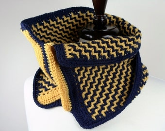 Ziggy - Reversible Double Sided Peruvian Highland Wool Handmade Crochet Cowl in Navy Blue and Yellow, Unisex, Super Warm and Lightweight