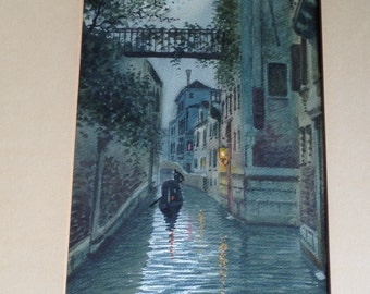Vintage watercolor Venice Italy canal and gondola scene by Alberto Trevisan (1929-1978)