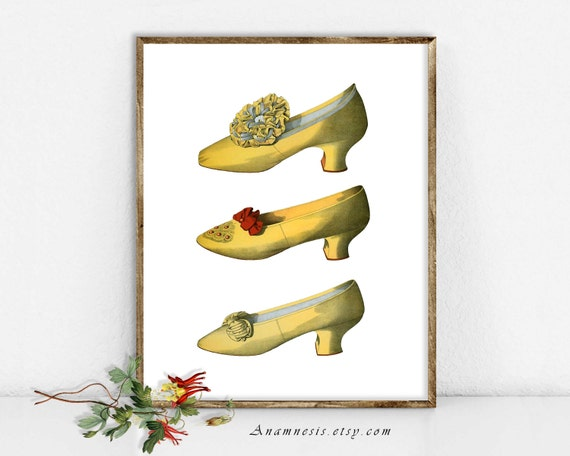 THREE YELLOW SHOES - Instant Digital Download - printable antique French fashion illustration for framing, totes, crafts, wall decor, tags