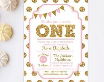 Pink and gold Birthday, 1st Birthday Invitation, Pink and Gold invitation, Polka Dots Invitaiton, Gold Glitter Invitation, Printable Invite