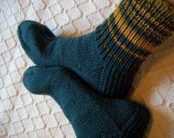 Big size mens BOOT SOCKS petrol blue with mustard yellow green Hand knitted Warm Durable Cozy wool Gift idea Handmade in  FINLAND