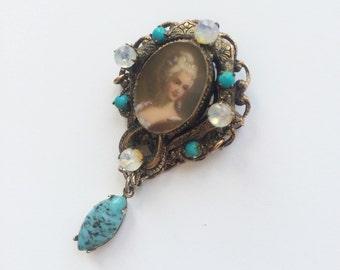 Vintage Florenza Pendant Brooch, Lady Portrait Pin, Turquoise Florenza Vintage Brooch