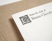 ALDER Custom Stationery Set - Letterpress Flat Notes - Kraft Paper - Folio