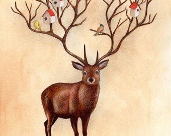 Stag, Art Print, Whimsical Art, Unisex Nursery Art, Childrens Art