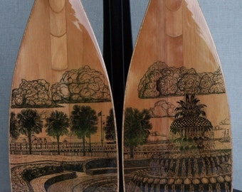 Wooden Canoe Paddles, with Drawing of Marriage Proposal Setting, display stand not included
