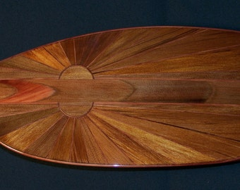 """Wooden Kayak Paddle, 45 Degree Feather Angle, 235 cm long, Lightweight Western and Eastern Red Cedars, """"Midnight Sun"""" Design"""