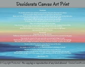 Beach decor, Desiderata wall art, Sunset painting - Canvas print, Abstract seascape ocean, Coral pink, Blue Teal Navy, Coastal, Wide large