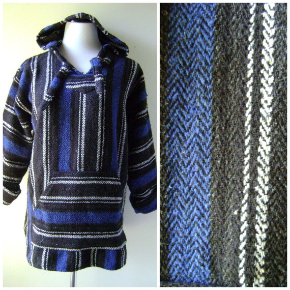 Vintage Mexican Zapotec Rug In Small Size With Stylized: Striped Woven Mexican Hoodie Jacket Vintage 90s Grunge Drug