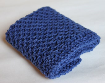 Hand Knit Dish Cloth, Wash Cloth, 100% Cotton, Textured Cleaning Cloth, Kitchen and Bath, Shower Gift, Stocking Stuffer (DC-016/Blue)