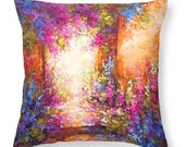 cottage flower decor, garden art decor, impressionist painting, colorful art pillow, decorative throw pillow, accent pillow, nature art