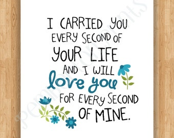 Printable 4x6 Art Print - I Carried You Quote - Baby Child Loss (Miscarriage,  Stillborn, Angel Baby) - Blue/Aqua