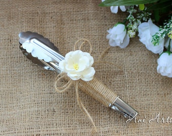 Buffet Tongs, Burlap Wedding Tongs, Rustic Wedding Tongs
