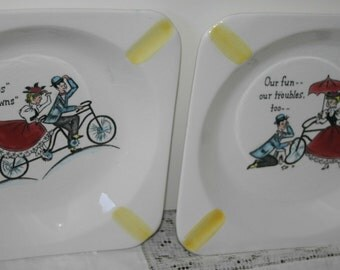 Pair Vintage Dishes Courting Marriage Dating Fun and Cute Old Fashioned Design Ashtrays Japan