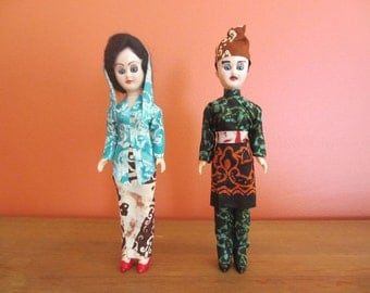 Asian Couple in Batik Costumes Indonesia or Thailand Vintage