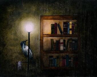 "Art print // Bookshelf - blue bird // ""Genesis part two"""