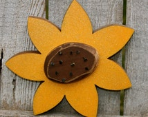 Fall Decor Chunky Wood Sunflower, Autumn Decor Chunky Wood Sunflower with Carved Center, Rustic Nails and Glitter, Summer Decor Woodcrafts