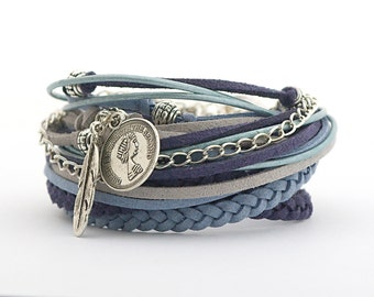 Navy Blue Gray Boho Wrap Bracelet, Sea Blue Bohemian Jewelry, personalized gift, Silver Gray Turquoise Gypsy Bracelet,  gift for her