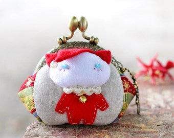 Cat coin purse / Christmas coin purse