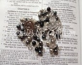 Gray and Black 'Noir' Swarovski Crystal Pearl and Crystal Swarovski Bead Rosary with silver plated Prodigal Son center and crucifix