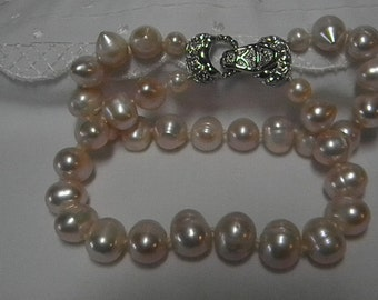 Genuine Cultured Baroque Freshwater Pink Pearl Two Strand Bracelet