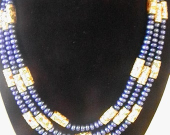 Lustrous Blue Freshwater Pearl And Cloisonne Bead Three Strand Necklace