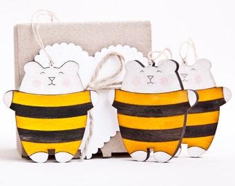 Christmas Ornaments, Holiday Ornaments,  Bear Bee Set of 3