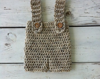 Hand made crochet newborn pants and suspenders- photography prop unisex