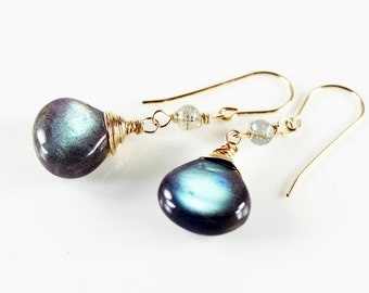 Labradorite Earrings, Gold filled wire wrapped earrings, artisan dangle earrings with green gemstone, gift for her, alira jewelry, ER2450
