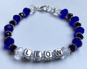Free Shipping--Law Enforcement Officer Wife ---LEOW---Swarovski Crystal Beaded Bracelet