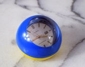 Rare Retro Ball Clock, 1970s Wind-Up Clock, Funky Vintage Alarm Clock, brand Ruhla