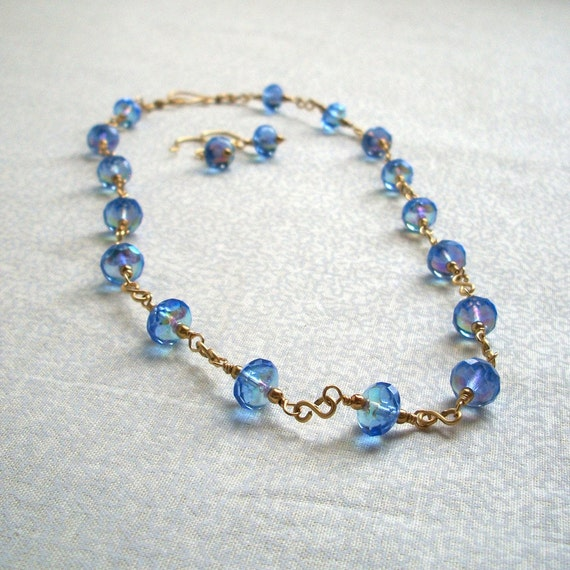 Simple Wire Work Blue Necklace & Earring Set
