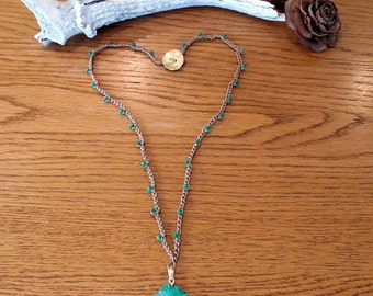 "Ready To Ship 22"" Hand Made Bead Crochet Necklace With Stalactite Pendant"