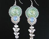 Bead embroidered earrings - silver earrings - flower earrings