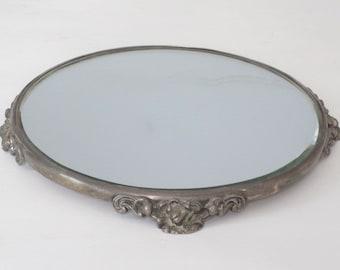 Vintage Round Beveled Plateau Mirror Tray