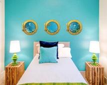 Sea Portholes Printed Wall Decal-Underwater Decal, Ocean Decal, Nursery Ocean Art,