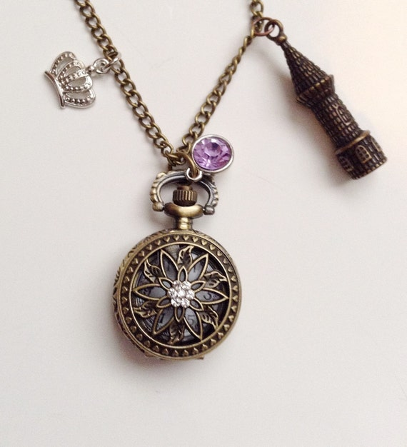 disney inspired pocketwatch necklace tangled rapunzel