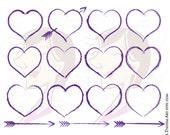 Purple Heart Clipart Rustic Frames Hand Drawn Arrow Chalkboard Graphics Brush Stroke Hearts DIY Wedding Craft Scrapbook COMMERCIAL USE 10664
