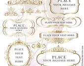 Gold Flourish Frames Swirl Clip Art Vintage Borders Antique VECTOR Images COMMERCIAL USE Invitation Scrapbook Craft Business Supply 10108