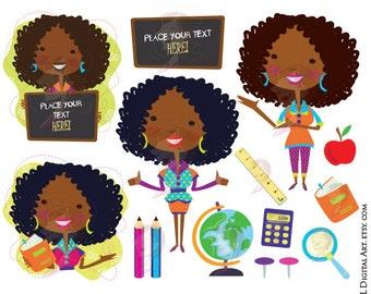 Classroom Teacher Clip Art African American Black Teacher Back To School VECTOR Graphics Chalkboard Pencils Globe Book Apple Clipart 10665