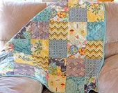 Modern patchwork Turquoise and Gray Baby or Toddler Quilt