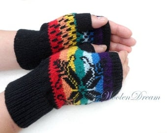 Merino wool fingerless gloves,men's wrist warmers,Scandinavian knitted gloves,rainbow hand warmers,gift for Him,winter fashion accessories