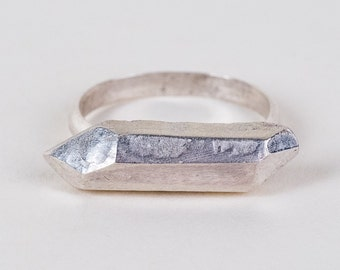Silver Faceted Crystal Ring